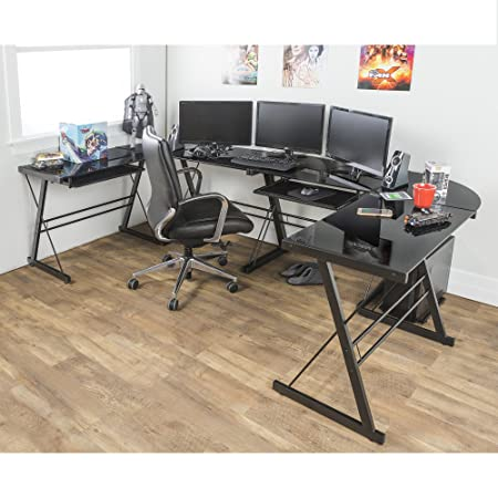 Walker Edison Soreno Modern 3-Piece Corner Desk for Home Office, Black Glass Contemporary Reclaimed Look