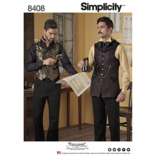 Steampunk Sewing Patterns- Dresses, Coats, Plus Sizes, Men's Patterns A Mens Shirt and Vests by Arkivestry Size 38-44 Simplicity Pattern 8408 A $11.10 AT vintagedancer.com