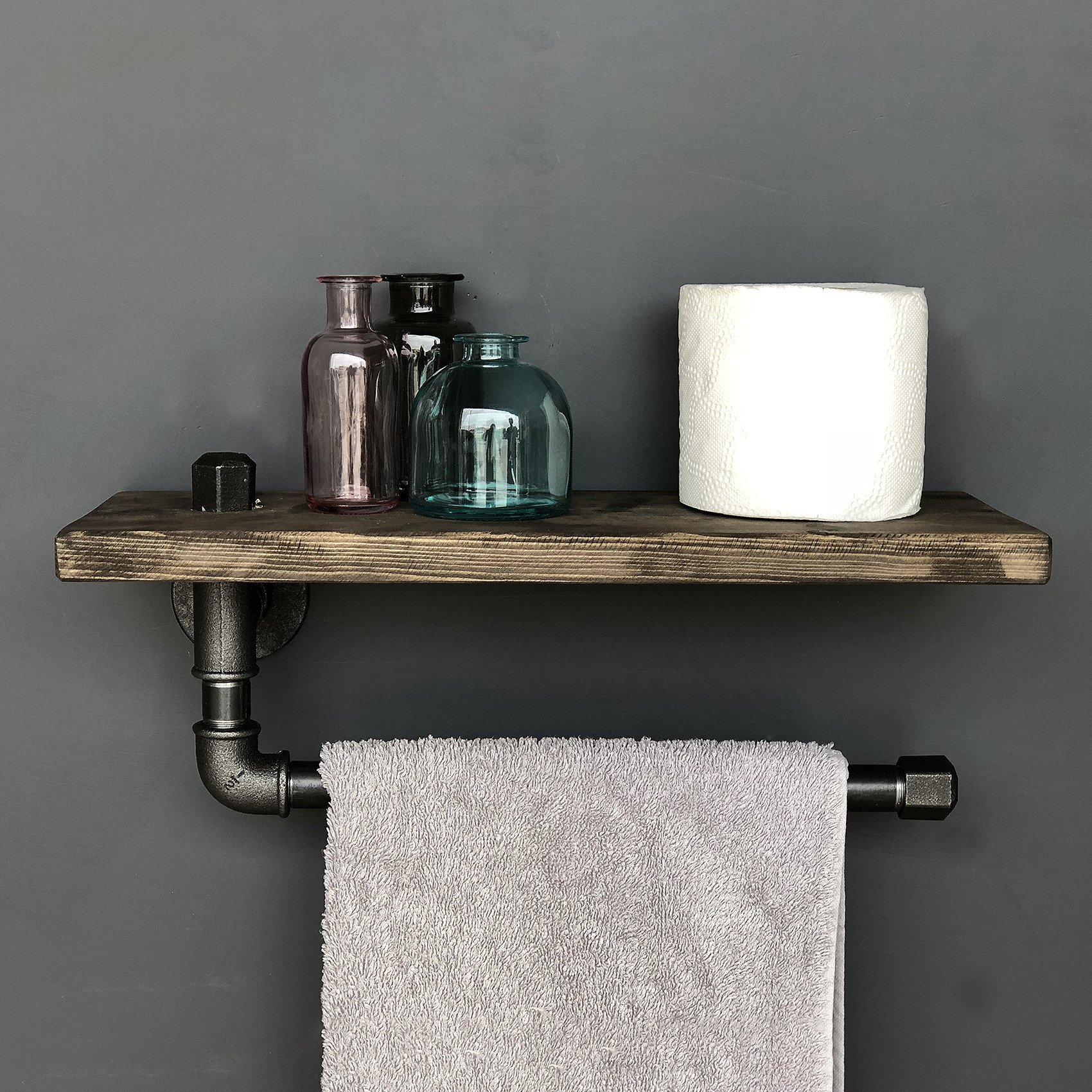 Authentic Handmade Metal Pipe Wall Shelf, 100% Solid Wood Shelf - Size (15.7'' x 4.7'' x 3.9''), Easy to Hang with Invisible Brackets, Multi Purposal Storage - Wall Mounted Shelves for Home & Office