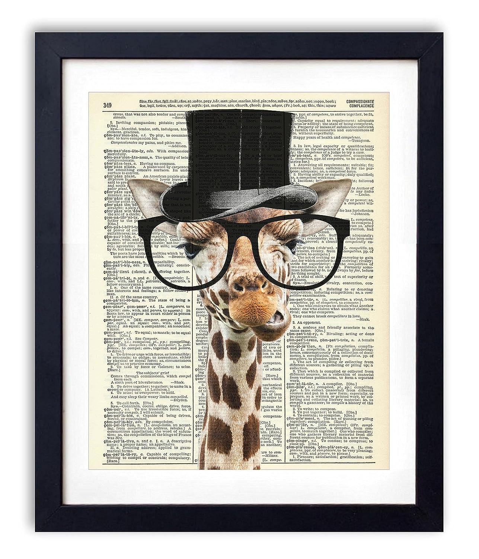 Gentleman Giraffe Upcycled Wall Art Vintage Dictionary Art Print 8x10 inches / 20.32 x 25.4 cm Unframed