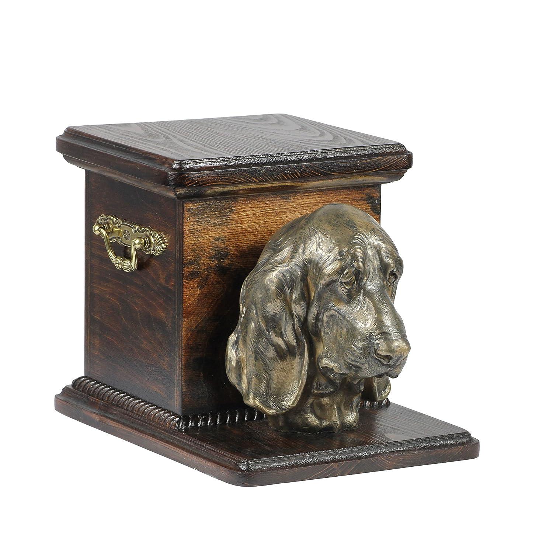 Basset Hound, memorial, urn for dog's ashes, with dog statue, ArtDog