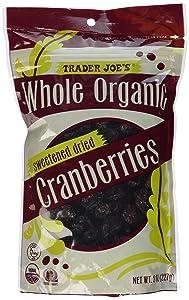 Trader Joe's Whole Organic Sweetened Dried Cranberries 8 Oz.