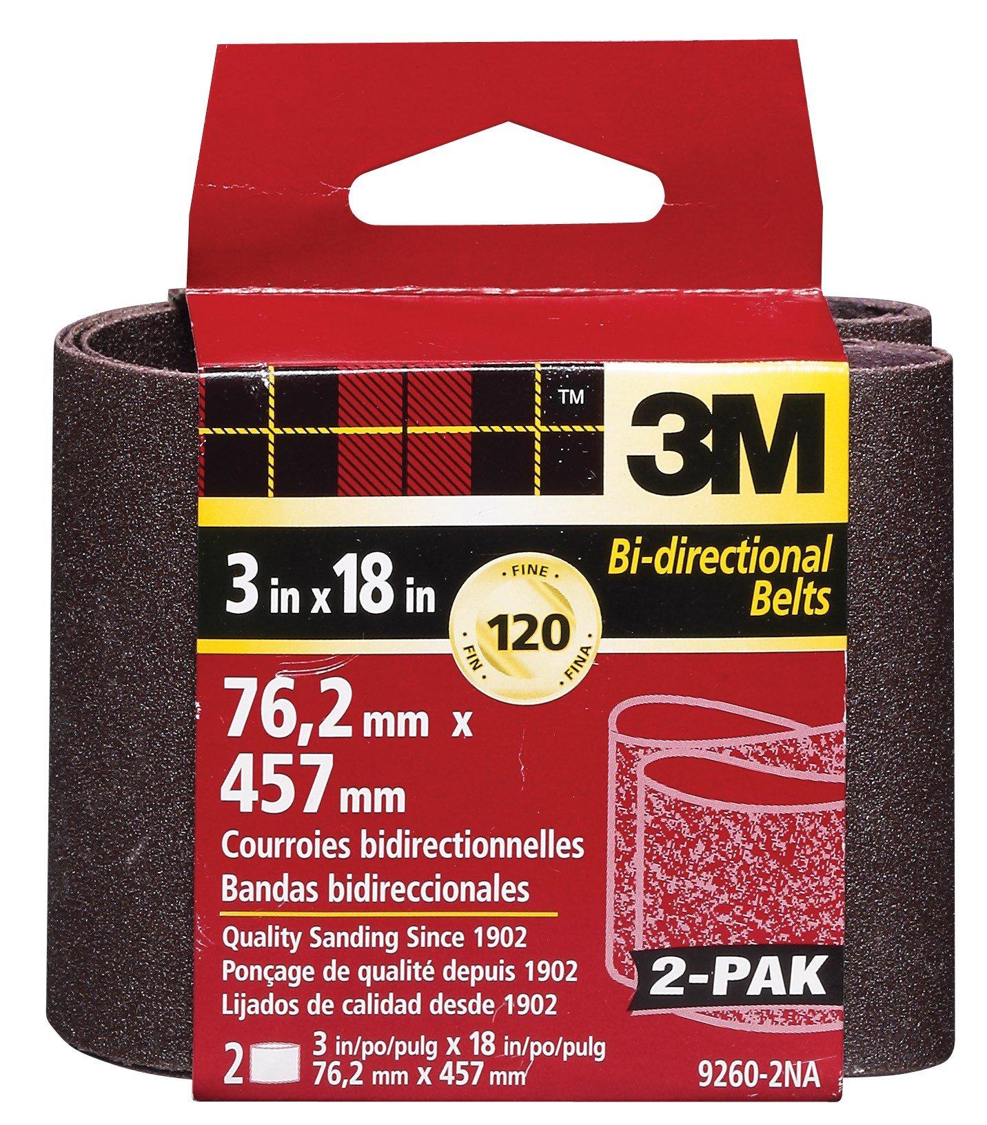 3M 9260NA-2 3'' X 18'' Fine Grit Power Sanding Belts 2 Pack