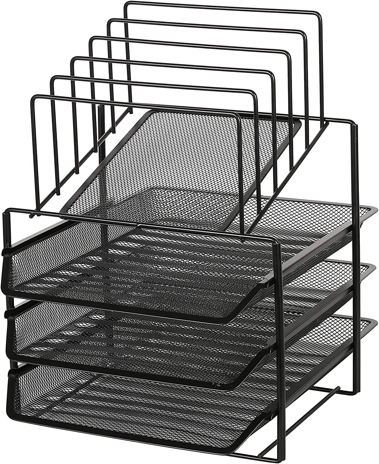Exerz Desk Organizer Wire Mesh 3 Layer Sliding Letter Trays with 5 Upright Sections/Dividers/Paper Sorter/Desk Multifunctional File Holder Filing Shelves for Office, School Black (EX2428-BLK)