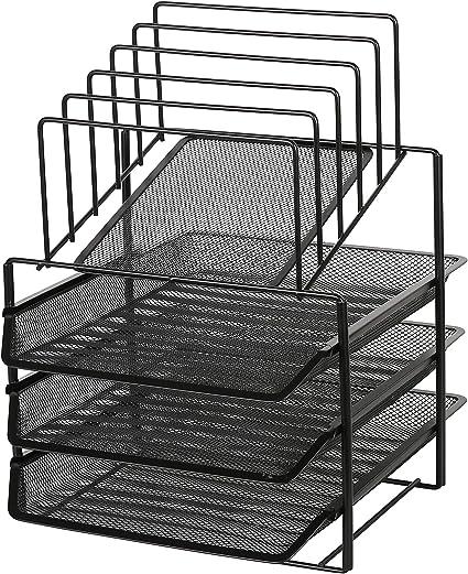 Organizer da tavolo Mesh con vaschetta a 3 livelli e 5 Classificatori Black