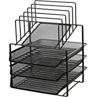 Exerz Desk Organizer Wire Mesh 3 Layer Sliding Letter Trays with 5 Upright Sections/Dividers/Paper Sorter/Desk…