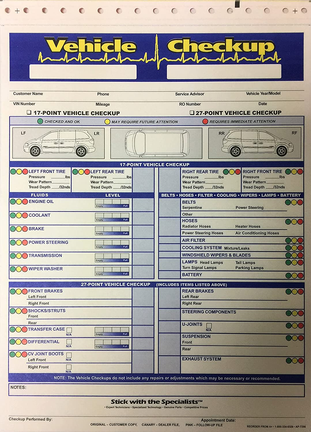 W2 Vehicle Check Up 3 Part Inspection Form 250 Quantity by A Plus