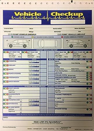 Amazon Com Vehicle Checkup Multi Point Inspection Form 7290 5