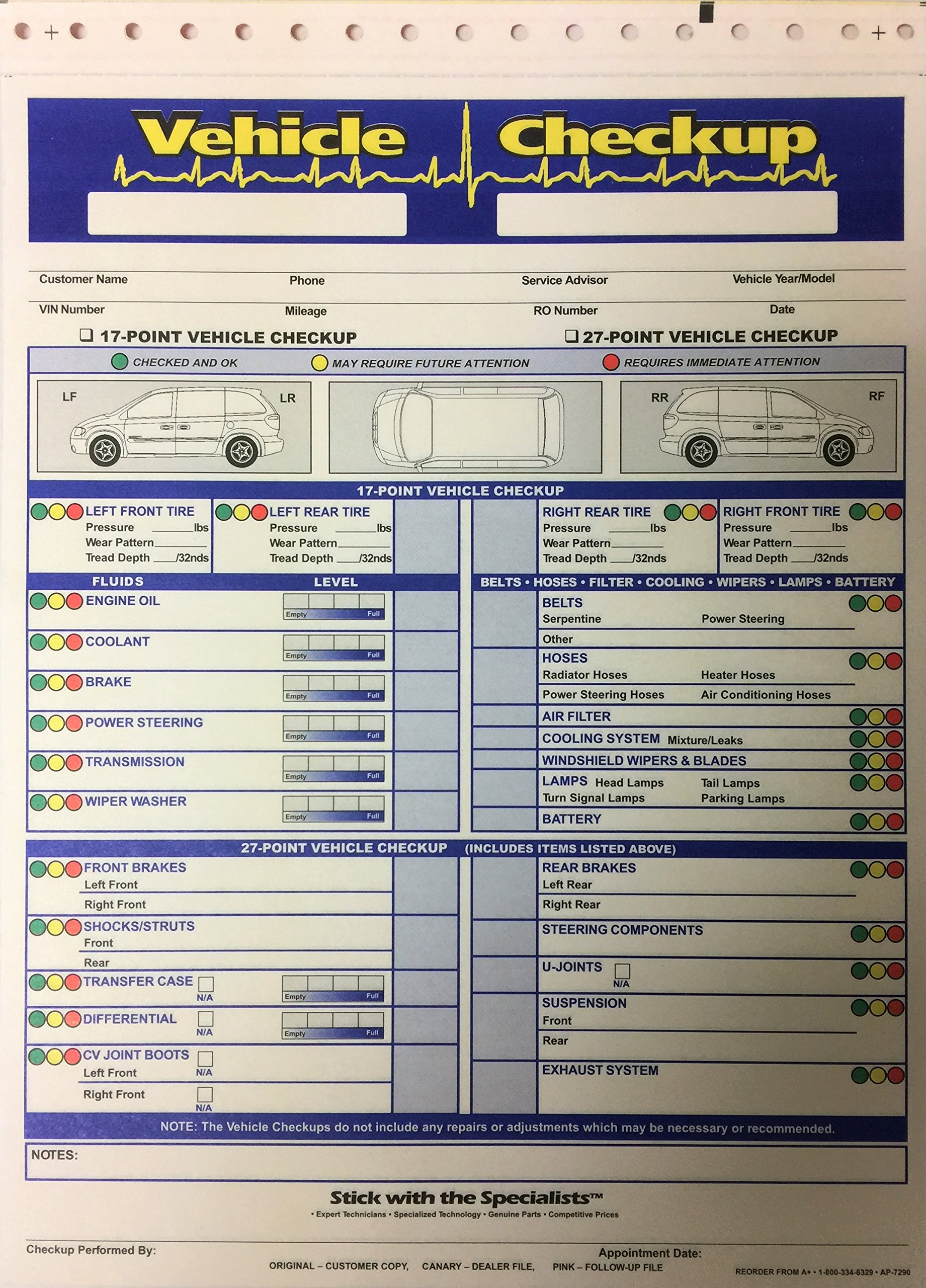 Vehicle Check Up 3 Part Inspection Form 250 Quantity By A Plus (W2)