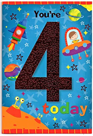 Birthday Card For Four 4 Year Old Boy