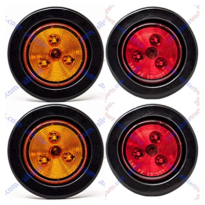 """[ALL STAR TRUCK PARTS] 2\"""" Round 3 LED Light Trailer Side Marker Clearance Grommet&Plug - 2 Amber+ 2 Red: Automotive [5Bkhe1500673]"""