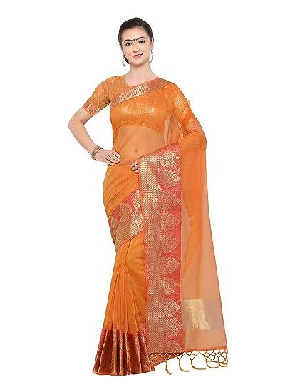 4a1d97cd89 Pisara Women's Banarasi Cotton Silk Saree With Blouse Piece,Yellow sari:  Amazon.in: Clothing & Accessories