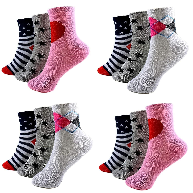 12 Paar Ladies Socks Mädchen Socken Kinder Strümpfe 85% Baumwolle A.1005 Gr. 23-38 Verschiedene Farben und Motive