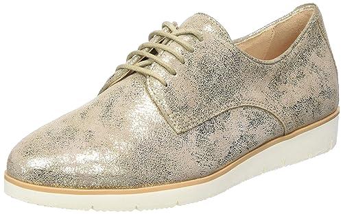 Caprice 23608, Zapatos de Cordones Oxford para Mujer, Dorado (Gold Suede Met 947), 37 EU