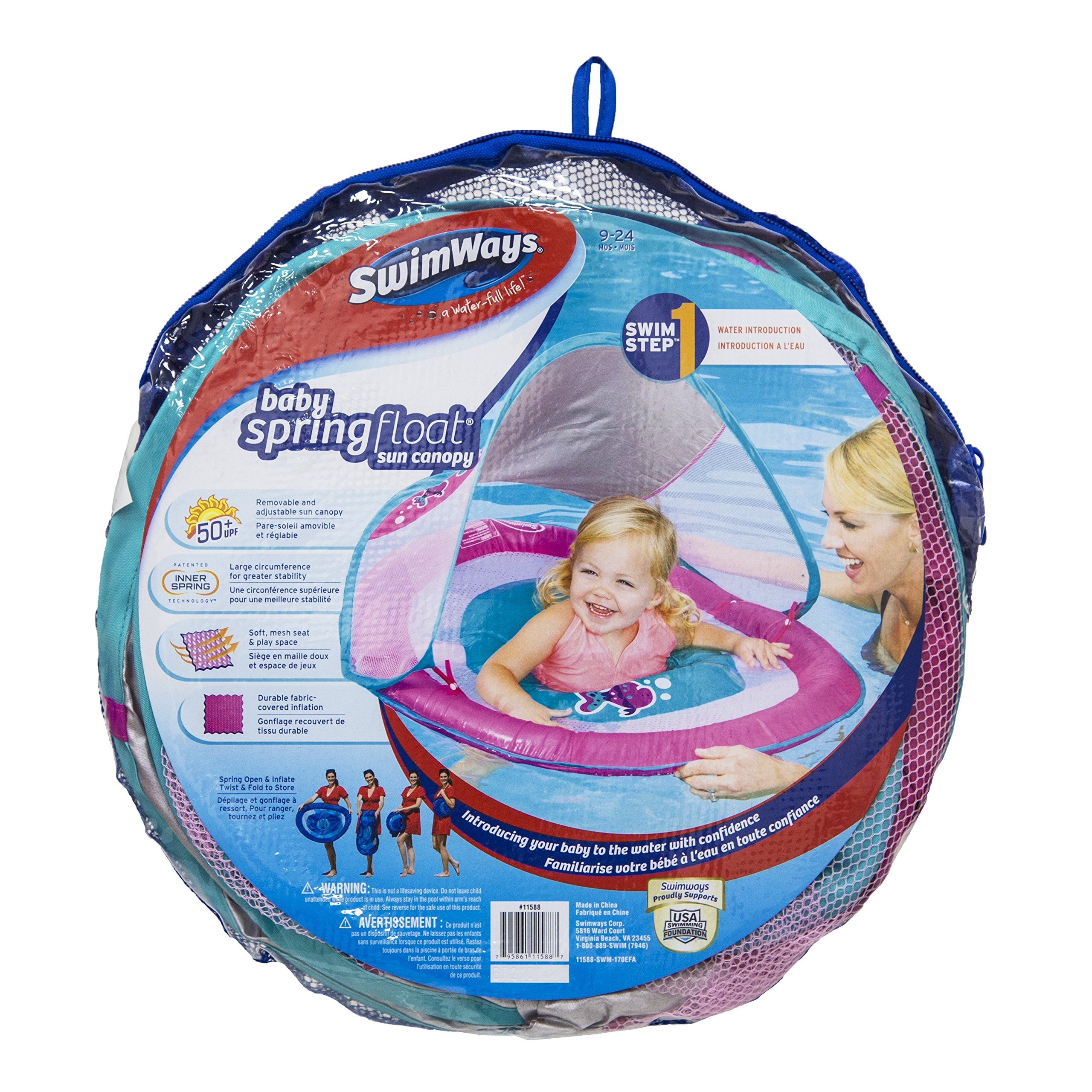 Green Fish SwimWays 11649 Baby Spring Float Activity Center with Sun Canopy