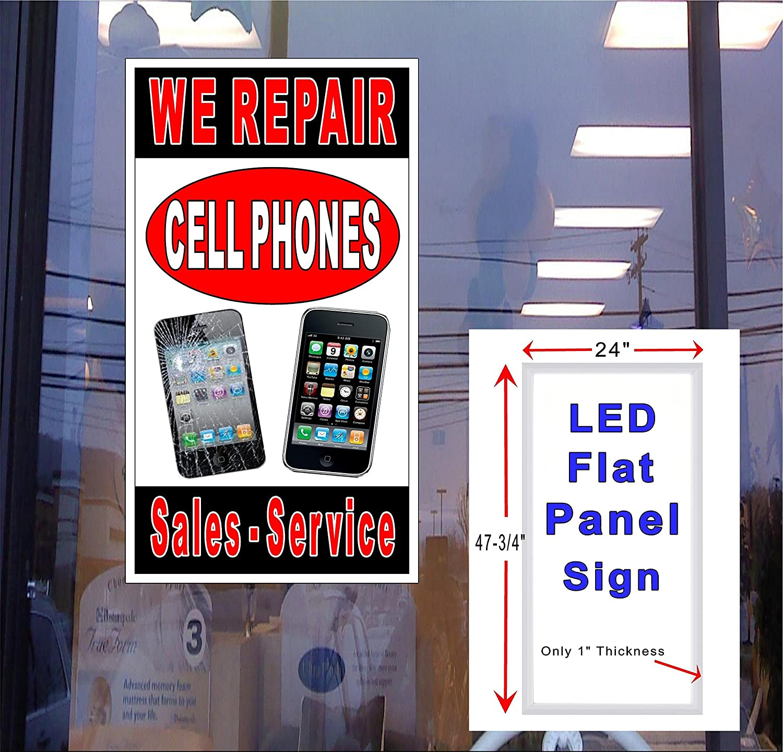 Sales 24 x 48 LED flat panel Light box Sign Vertical We Repair CellPhones Service
