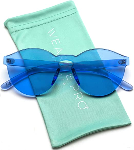 67f1e4a34b6 WearMe Pro - Colorful Transparent Round Super Retro Sunglasses (Blue ...