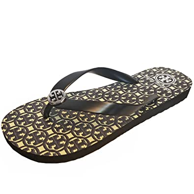 93d63a8b3 Tory Burch TB Logo Lattice Flip Flops Black Size  Medium  Amazon.co ...