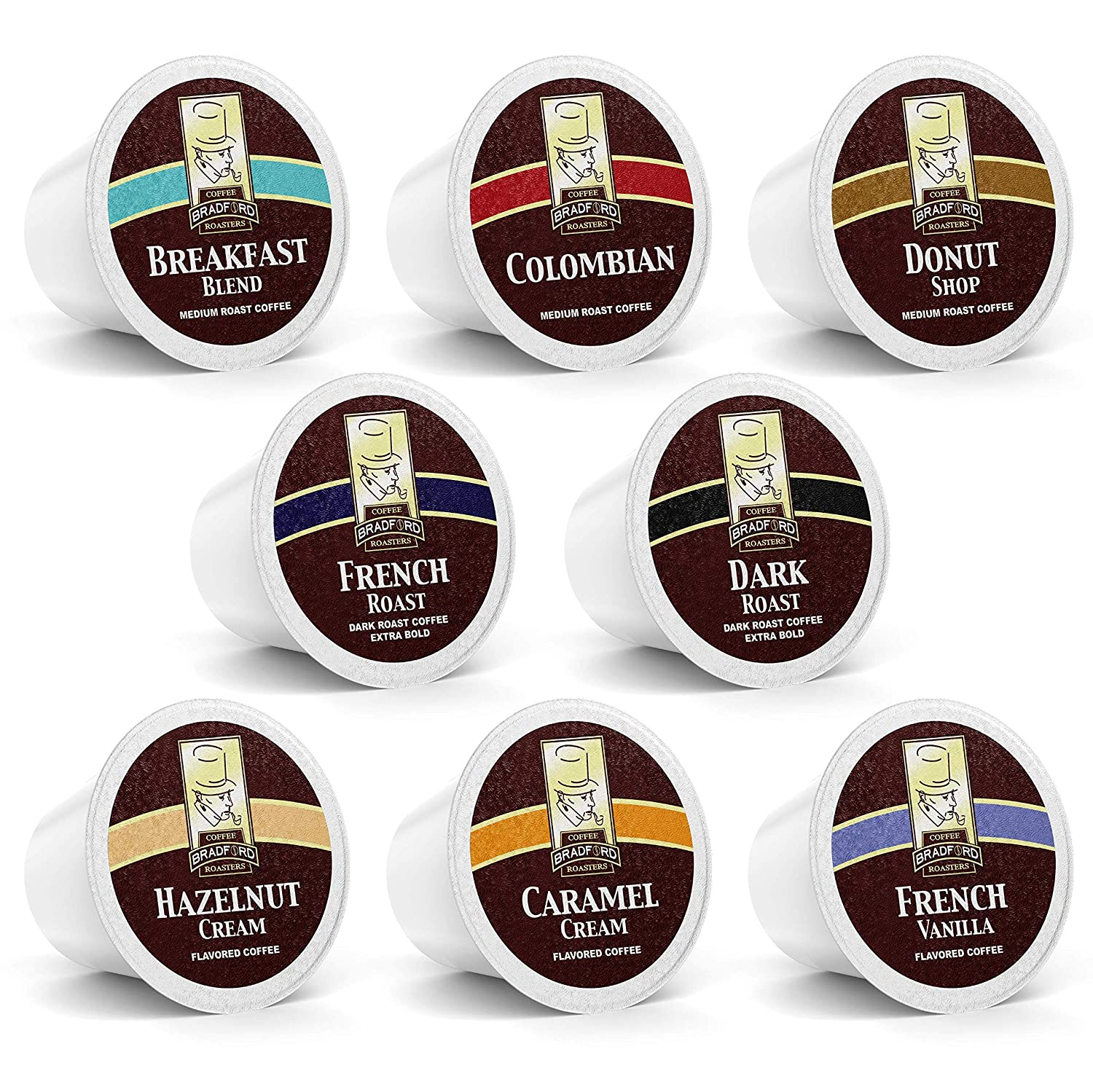 100ct Variety Pack for Keurig K-cups, 8 Assorted Single Cup Sampler 20% more coffee per cup by Bradford Coffee