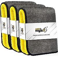 EASY EAGLE Microfiber Auto Droogdoek 38x44CM, 1200 GSM Ultradunne Microvezeldoekjes, set van 3