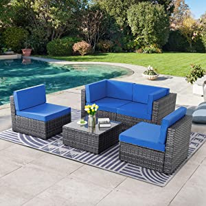 SUNLEI 5pcs Patio Conversation Set Outdoor Furniture Sets,Low Back All-Weather Rattan Sectional Sofa with Tea Table&Washable Couch Cushions&Ottoman(Silver Rattan)(Royal Blue)