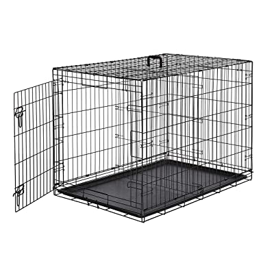 AmazonBasics Single-Door & Double-Door Folding Metal Dog or Pet Crate Kennel