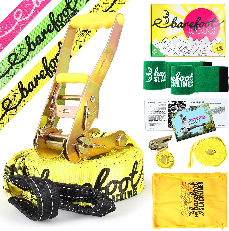 Barefoot Slacklines 49ft Complete Set Including Slackline Bark Protectors /& Instructions Great for Kids and Family Ratchet 15m Training Line Line 3 Fluro Colours Available