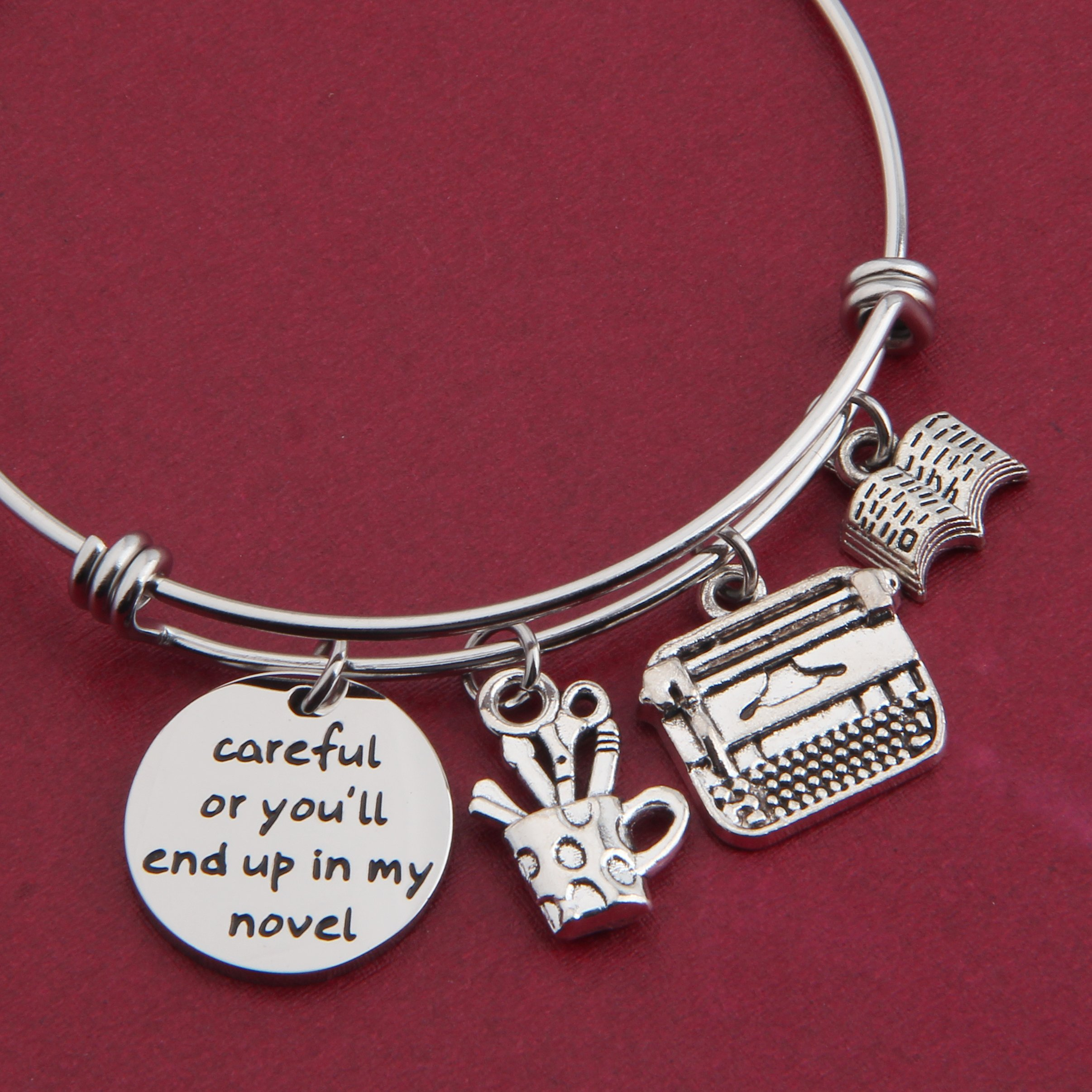 Gzrlyf Writer Bracelet Author Bracelet Writer Gift Novelist Gift Careful Or Youll End Up In My Novel Jewelry Writing Gift Author Jewelry (Writer bracelet) by Gzrlyf (Image #4)