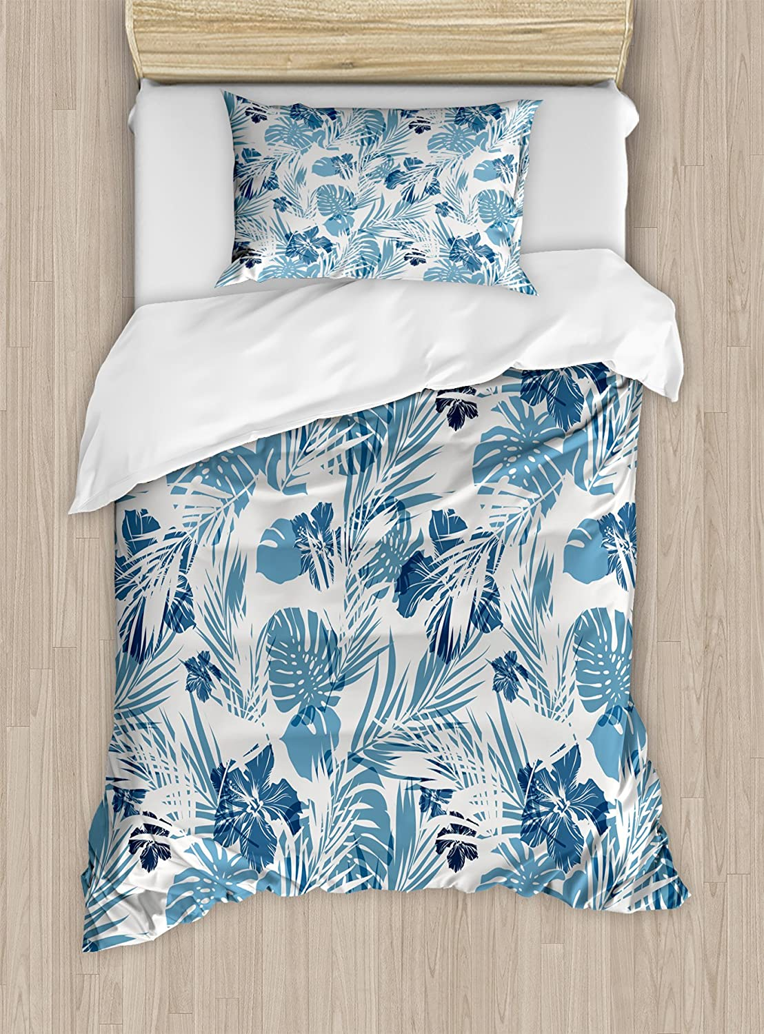 Ambesonne Leaf Duvet Cover Set, Island Ocean Beach Sea Inspired Hawaiian Flowers Palm Tree Leaves Art Print, Decorative 2 Piece Bedding Set with 1 Pillow Sham, Twin Size, Blue Lilac