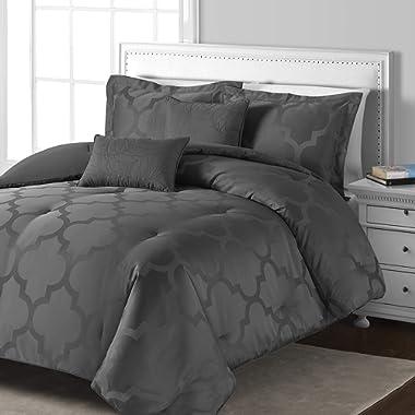 Comfy Bedding Lantern Jacquard Microfiber 5-Piece Comforter Set (Grey, Queen 5-Piece)