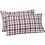 Pinzon 160 Gram Plaid Flannel Cotton Pillowcases, Set of 2, Standard, Red / Grey Plaid