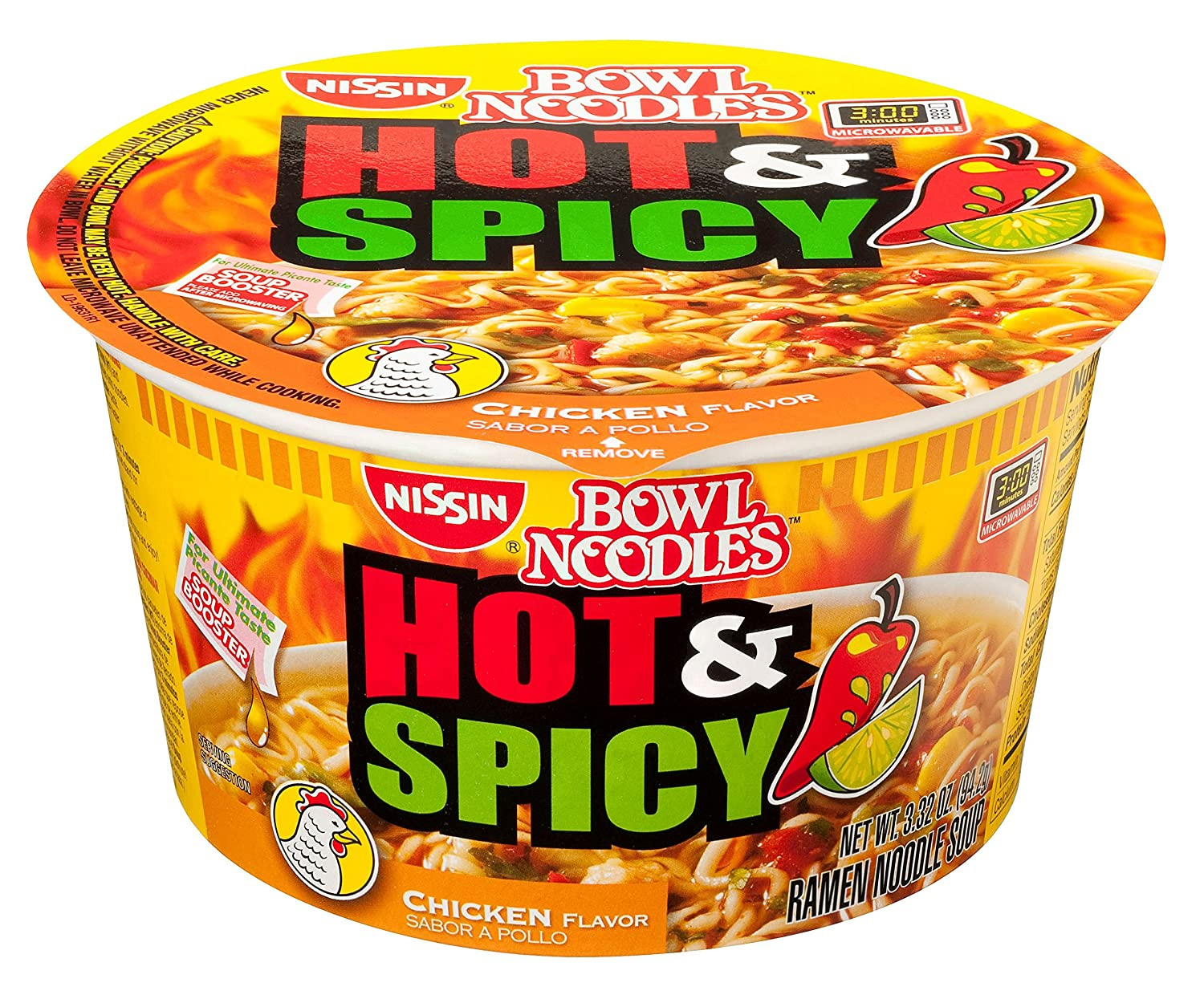 Nissin Hot and Spicy Bowl Noodles Chicken, 3.32 Ounce (Pack of 12)