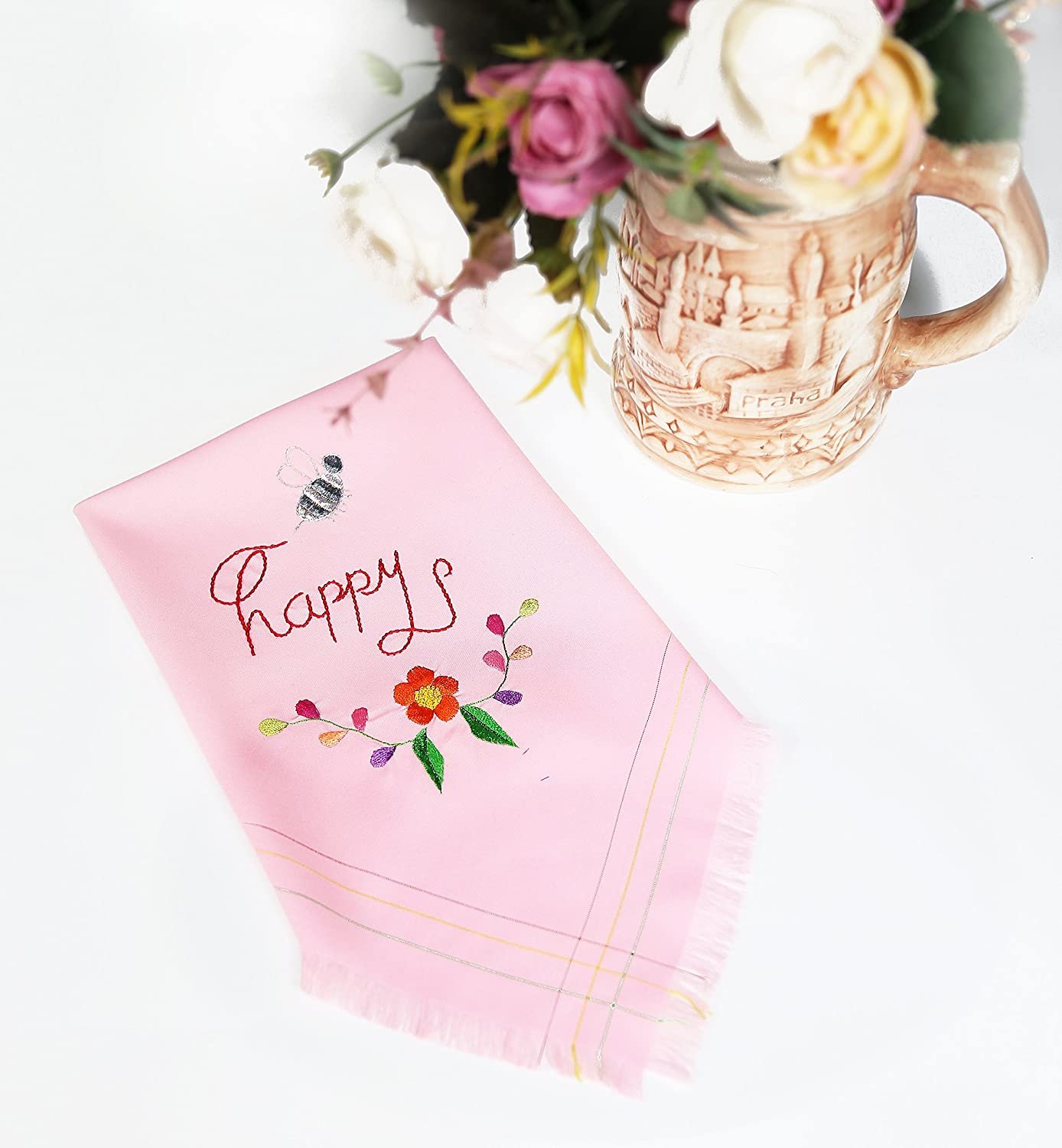 Amazon.com: Happy And Bee Pink Handkerchief - Hanky Embroidery With ...