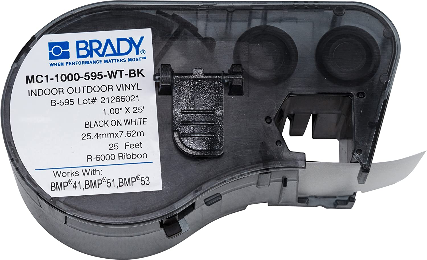 "Brady High Adhesion Vinyl Label Tape (MC1-1000-595-WT-BK) - Black on White Vinyl Film - Compatible with BMP41, BMP51, and BMP53L Label Printers - 25' Length, 1"" Width"