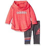 Adidas Baby Girls' NEON MELANGE HOODED SET,Bright Red,9 m