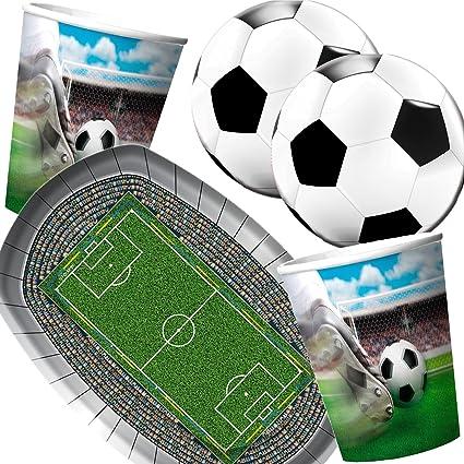 Folat Carpeta 37 Teiliges Partyset Fussball Stadion Mit Teller Becher Servietten Deko Geburtstag Set Partygeschirr Deko Party Mottoparty