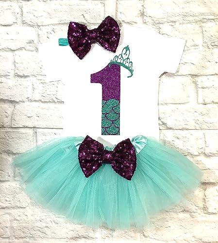 amazon com 1st birthday outfit mermaid birthday girl outfit mermaid