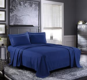Pure Bedding Bed Sheets - King Sheet Set [6-Piece, Navy] - Hotel Luxury 1800 Brushed Microfiber - Soft and Breathable - Deep Pocket Fitted Sheet, Flat Sheet, Pillow Cases