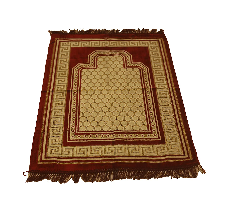 Excellent Islamic Prayer Rug Mihrab Design Excellent Quality Mihrab Velvet Janamaz Sajjadah Muslim Namaz Seccade Turkish Prayer Rug (Pink) Sparke Trade