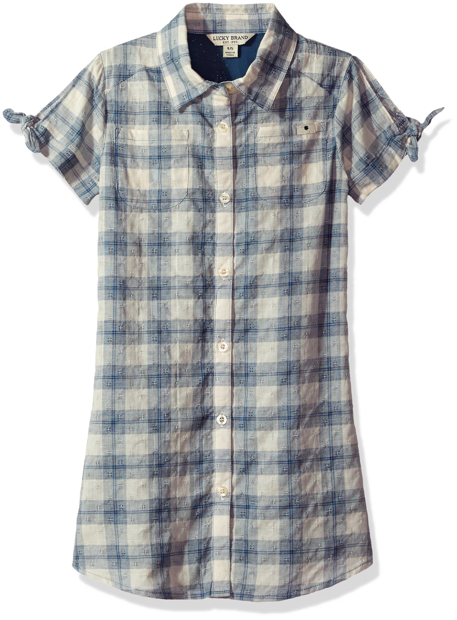 Lucky Brand Big Girls' Short Sleeve Fashion Dress, Bree Dark Denim, Large (12/14)