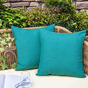 NEERYO Decorative Outdoor Waterproof Throw Pillow Covers Solid Linen Farmhouse Pillowcases for Garden Patio Tent Balcony Couch Sofa Set of 2 18