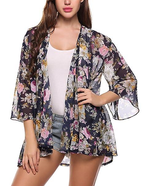 Amazon.com: ACEVOG. Kimono para mujer, hecho de chifó ...