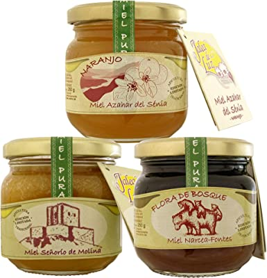 Pack de 3 botes de miel pura/cruda - formato 250gr. c/u; de: Azahar, Girasol, y Flora de Bosque: Amazon.es: Alimentación y bebidas