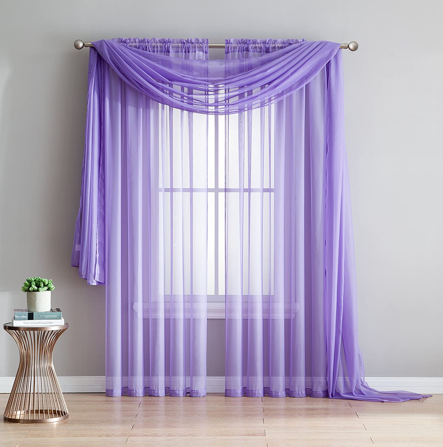 Amazing Sheer - 2-Piece Rod Pocket Sheer Panel Curtains Fabric Sheer - Voile Curtains