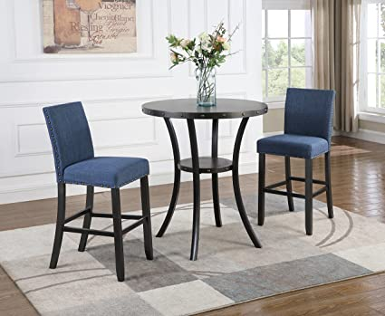 Cool Roundhill Furniture P164Bu Biony 3 Piece 36 Round Espresso Bar Table With Nail Head Stools Blue Alphanode Cool Chair Designs And Ideas Alphanodeonline