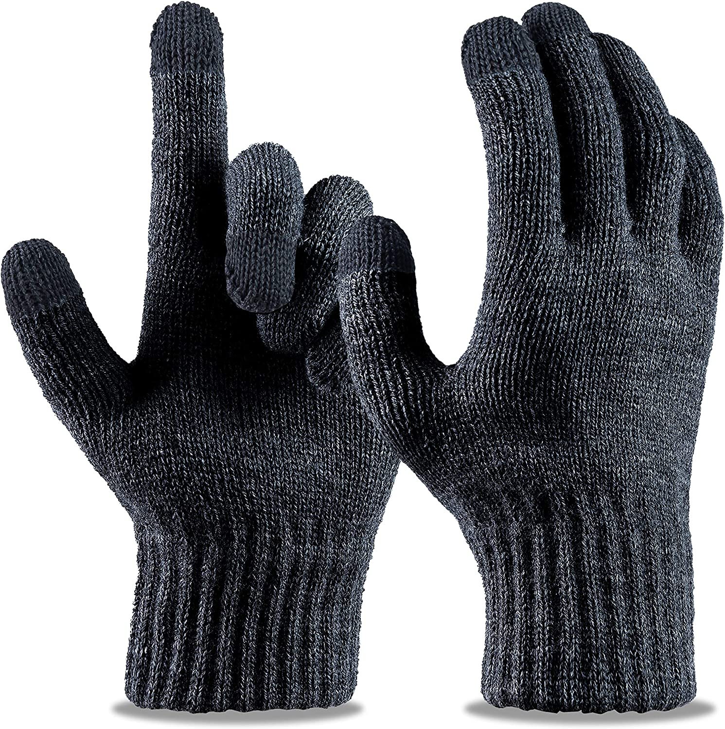 LIZEY Touchscreen Stretch Gloves Warm Knitted Texting Mitten Gloves for Women