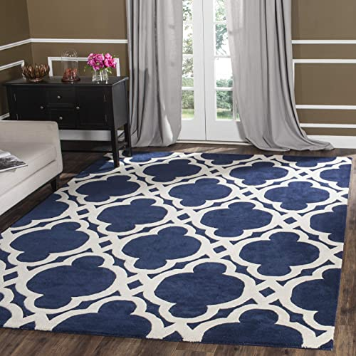 Safavieh Chatham Collection Handmade Wool Area Rug, 8 x 10 , Dark Blue Ivory