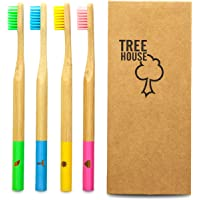 TreeHouse Premium Bamboo Toothbrush Family 4 Pack- Recyclable & Biodegradable Handle, Medium Firm Bristles, Unique Australian Design