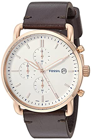 a807e09d0 Fossil Men's Commuter Quartz Stainless Steel and Leather Casual Watch  Color: Rose Gold Brown (