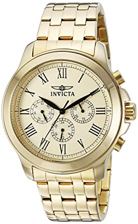 Invicta Mens 21658 Specialty Analog Display Swiss Quartz Gold-Plated Watch